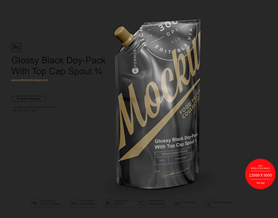 Glossy Black Doy-Pack With Top Cap Spout ¾