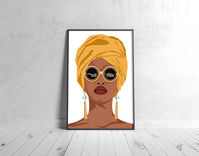 Fashion poster, wall art of afro girl