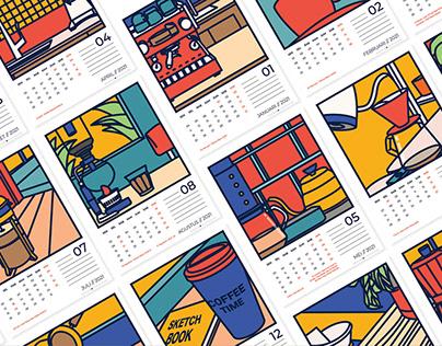 Calendar 2021 Coffee Theme with Indonesian Holidays