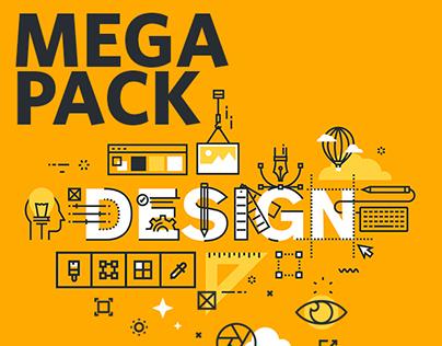 Thin Line Flat Design Word Banners Mega Pack