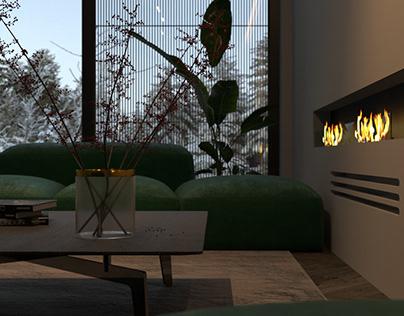 Fireplace lounge area