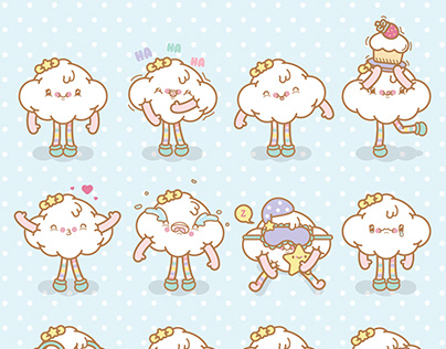 Set de nubes emojis kawaii para descargar en Freepik