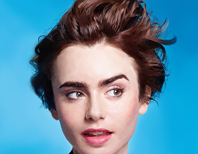 Lily Collins Realistic Digital Painting