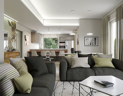 Living and kitchen design - Apartment C