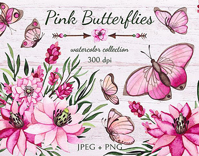 FREE VECTOR Flowers and Butterflies Clipart