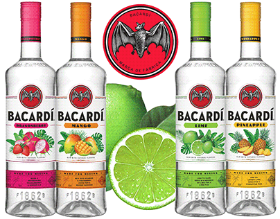 Packaging Illustrations for Bacardi Flavored Rums