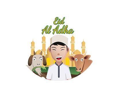 a Muslim boy, happy on Eid al-Adha
