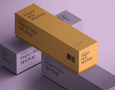 Isometric Paper Box Mockup