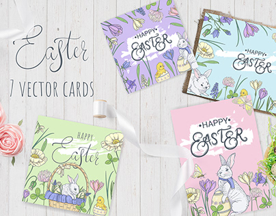 7 Easter cards (vector) V2