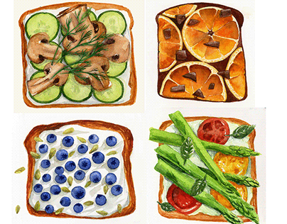 Watercolour painting. Food.