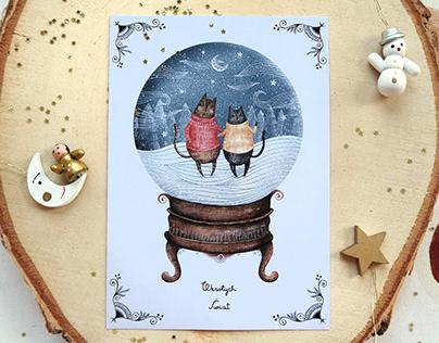 Kocie kartki świąteczne