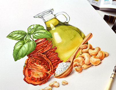 Red Pesto - watercolor illustration