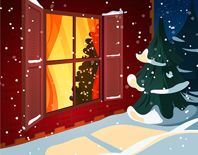 The warm illustration of magic Christmas night.