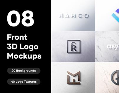 8 Front 3D Logo Mockups - PSD