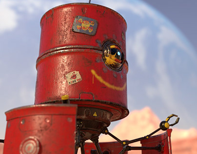 Texturing Barry the Barrelbot in Substance Painter