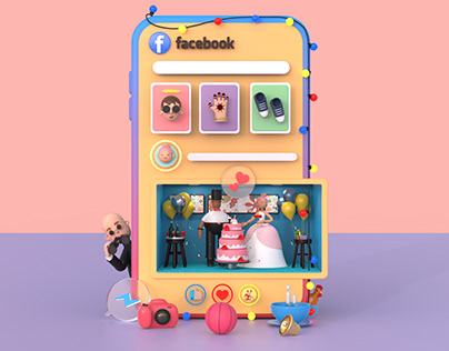 Facebook - Fun 3D UI Illustration