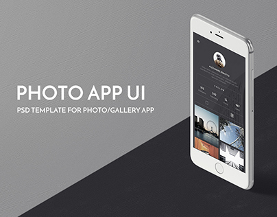 Photo App UI PSD Template