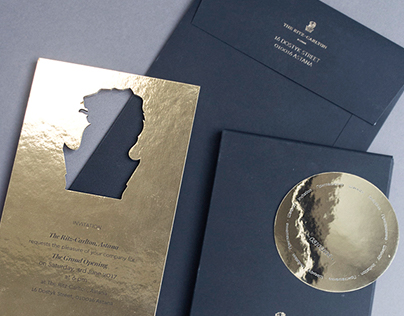 Invitation with gold-embossed envelope