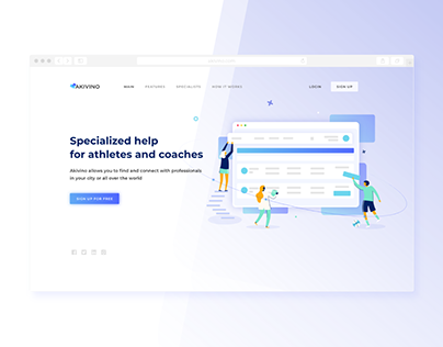 Landing page and system design for Akivino