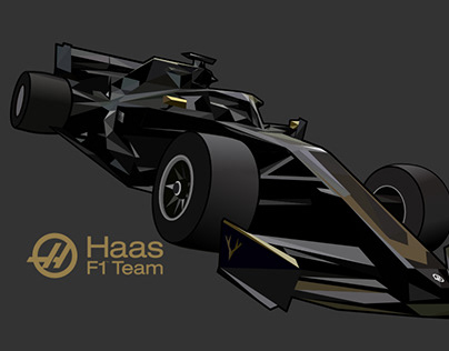 Haas F1 Team Low Poly Illustration