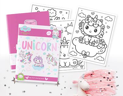Baby Kawaii Unicorn Coloring Book