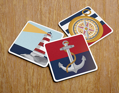 Nautical Illustrations: Anchor, Lighthouse and Compass
