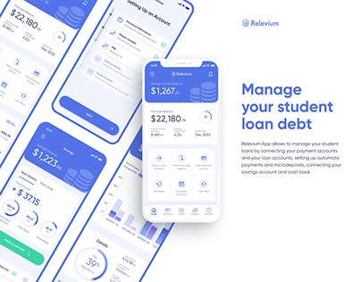 UX/UI for FinTech App | Relevium, student loan manager
