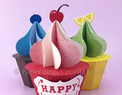 3D Paper Cupcake Gift Box / Party Favor