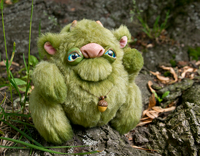 Green Troll - Friendly Woodland Spirit, OOAK art toy