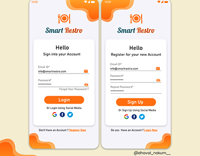 Smart Restro Mobile App Login UI Page