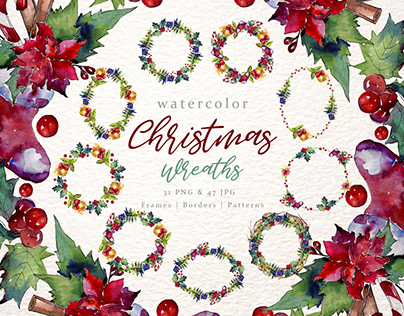 Christmas collection PNG watercolor set