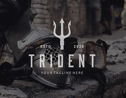 Trident Neptune God Poseidon logo design