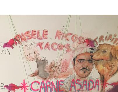 Mural para taqueria Pistola y Corazon en Lisboa, Pt.