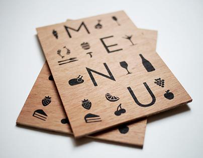 Menu Restaurant Silk Screen on wood