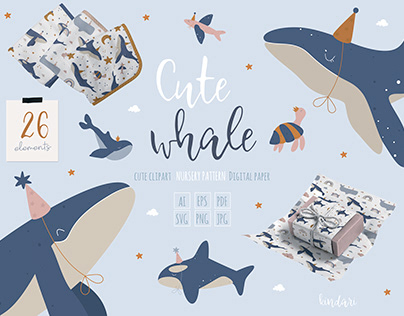 Cute Whale Clipart & Seamless Pattern & Svg File