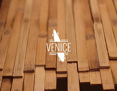 Venice - Illustrated Bamboo Longboard