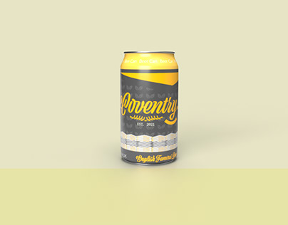 Coventry Beer Can Design In Yellow Colour Branding
