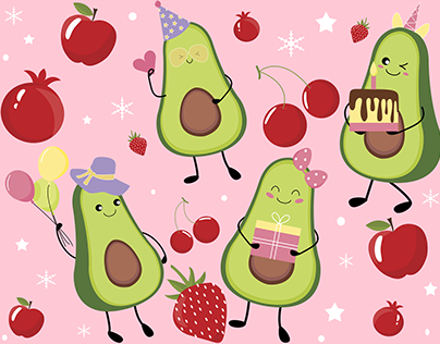 Cute Avocado and red fruits
