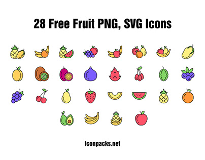 28 Free SVG, PNG Fruit Icons.