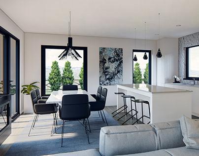 3D minimalist living room and kitchen interior