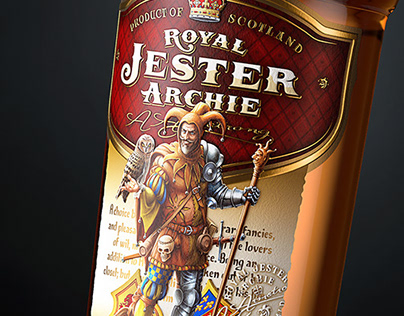 "Whisky ""Royal Jester Archie"". Label and bottle design."