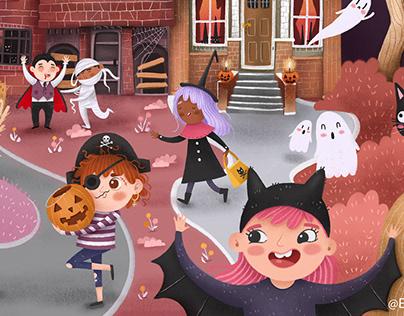 Halloween spooky scene