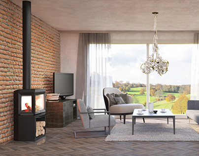 Visualization of the living room in a village family ho