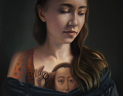 'Girl with the Tattoo', oil on canvas