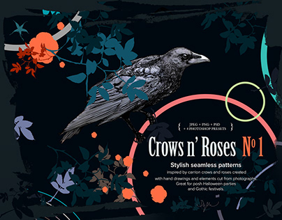 Crows n' Roses - Stylish seamless patterns