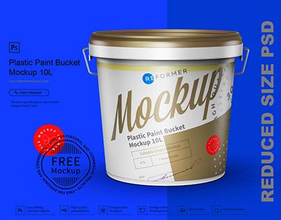 Free Plastic Paint Bucket Mockup 10L