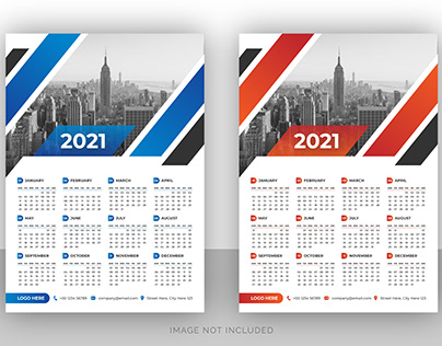 Single page wall calendar design for business agency