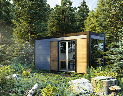 CGI: Shipping Container Home Office Archviz Render