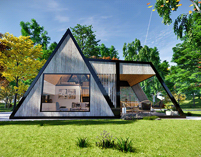 Modern A-frame house w fireplace and hot tube