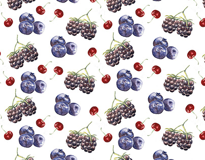 Watercolor Berries - Pattern Design